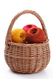 Yarn for knitting  in a basket Royalty Free Stock Photography
