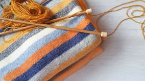 Yarn for knitting and handmade sweaters Royalty Free Stock Photos