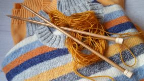 Yarn for knitting and handmade sweaters Royalty Free Stock Photography
