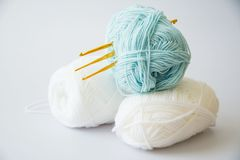 Yarn for knitting and Knitting tool. On white  background Stock Images