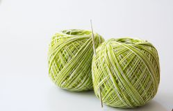 Yarn for knitting and Knitting tool. On white  background Royalty Free Stock Photo