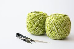 Yarn for knitting and Knitting tool. On white  background Stock Photos