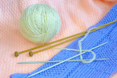 Yarn with knitting needle Stock Photo