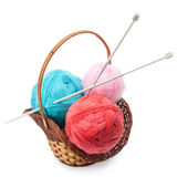 Yarn and knitting needles arranged in a basket Stock Photography