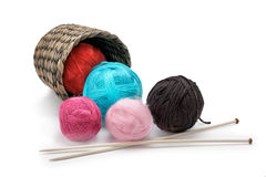 Yarn and knitting needles arranged in a basket Stock Image