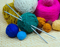 Yarn for knitting needles, close-up Royalty Free Stock Photo