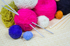 Yarn for knitting needles Royalty Free Stock Photography