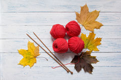 Yarn, knitting needles and yellow leaves are on white desk. Red yarn, wooden knitting needles and yellow leaves are on white vintage wooden desk with place for Stock Images