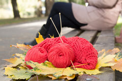 Yarn and knitting openwork are on a bench. Skeins of yarn and knitting openwork are in a park on a bench. Yellow fallen leaves in autumn Stock Photography