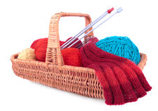 The yarn and knitting in the wicked basket Royalty Free Stock Photo