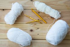 Yarn for knitting on wooden. Background Royalty Free Stock Photos