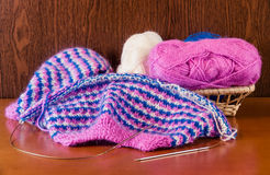 Yarn and knitting on wooden background. Selective focus Stock Photography