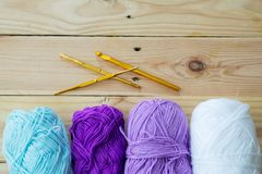 Yarn for knitting. On wooden  background Royalty Free Stock Photos