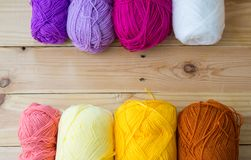 Yarn for knitting on wooden stock images