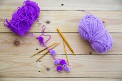 Yarn for knitting. On wooden background Royalty Free Stock Image