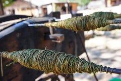 Yarn making. stock image