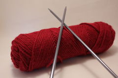 Yarn with metal knitting needles Royalty Free Stock Image