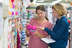 Yarn and recreational store. Yarn royalty free stock images