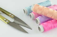 Yarn and scissors  Royalty Free Stock Photo