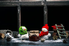 Yarn snowmen on the table Royalty Free Stock Image