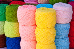 Yarn. Stack of colorful yarn for sell Royalty Free Stock Photos