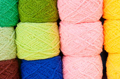 Yarn. Stack of colorful yarn for sell Stock Photography