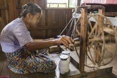 Yarn Warping. While I traveling in Inle, Myanmar. I found this rare yarn warping here Stock Photos