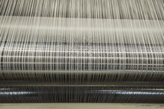 Yarn warping machine in a textile weaving factory Stock Image