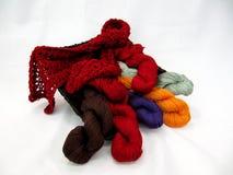 Yarn in wicker Basket Stock Photo