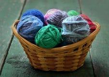 Yarn in wicker basket Stock Images