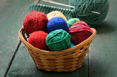 Yarn in wicker basket Royalty Free Stock Photos