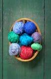Yarn in wicker basket Stock Image