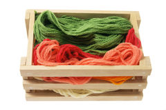 Yarn in Wooden Box Stock Images