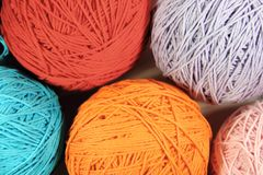 Yarns made of cotton and wool yarn. Yarn and wool in skeins and yarns Stock Image