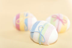 Yarn wrapped Easter eggs Stock Images
