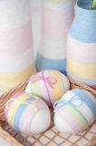 Yarn wrapped Easter eggs Royalty Free Stock Images