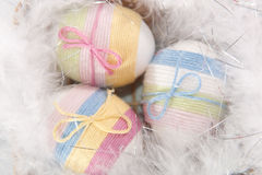 Yarn wrapped Easter eggs Royalty Free Stock Image