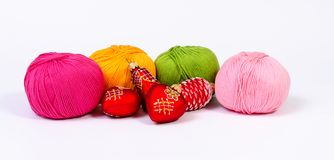 Yarn and Xmas decorations Royalty Free Stock Photos