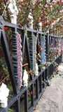 Yarnbombed railings Royalty Free Stock Images
