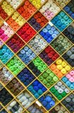 Yarns or balls and of wool are forming lovely colorful pattern Stock Images