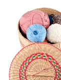 Yarns in basket Stock Image