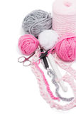 Yarns and crochet hooks Royalty Free Stock Photo