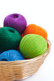 Yarns for knitting in the basket Stock Image