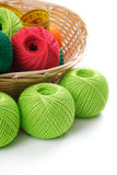 Yarns for knitting in the basket Stock Photo