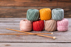 Yarns for knitting with wooden knitting needles. Stock Images