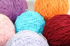 Yarns made of cotton and wool yarn. Yarn and wool in skeins and yarns Stock Photo
