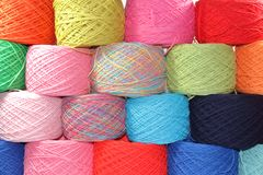 Yarns made of cotton and wool yarn. Yarn and wool in skeins and yarns Stock Photos