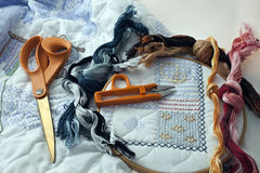 Yarns, Scissors, Hoop For Embroidery Royalty Free Stock Photo