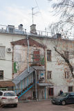 Yaroshenko House facade in Podkolokolny Street in Moscow Royalty Free Stock Image