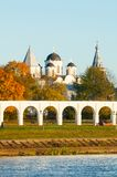 Yaroslav Courtyard and ancient St Nicholas cathedral with towers, Veliky Novgorod, Russia. Architecture landscape of Veliky Novgorod, Russia. Arcade of Yaroslav Stock Image